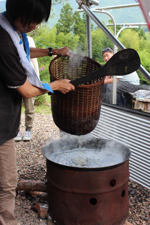 茹で上がった茶葉の湯切り