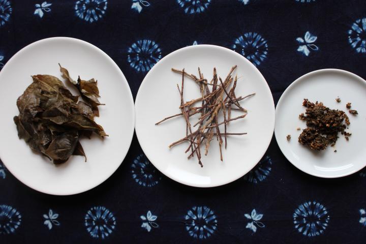 阿波晩茶の3種の茶殻