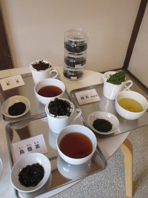 3種類のお茶と茶葉見本