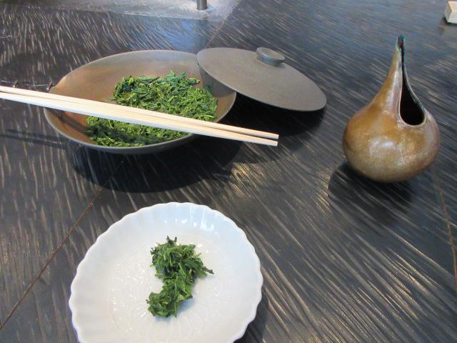 玉露の茶葉とポン酢