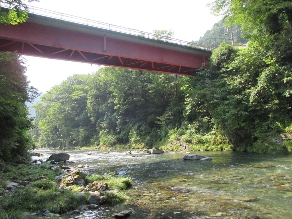 川辺から橋を望む